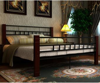 vidaXL Metalowe łóżko z drewnianymi elementami (180 x 200 cm)