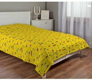 Dekoria Narzuta pikowana w pasy, wesołe kreciki na żółtym tle, szer.170 x dł.210