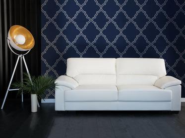 Beliani Sofa kremowa - trzyosobowa - kanapa - skóra ekologiczna - VOGAR kremowy