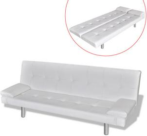 vidaXL Biaa sofa z dwoma poduszkami