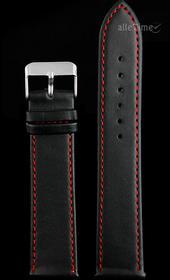 Pasek do zegarka czarny -czerwona nić - 22 mm