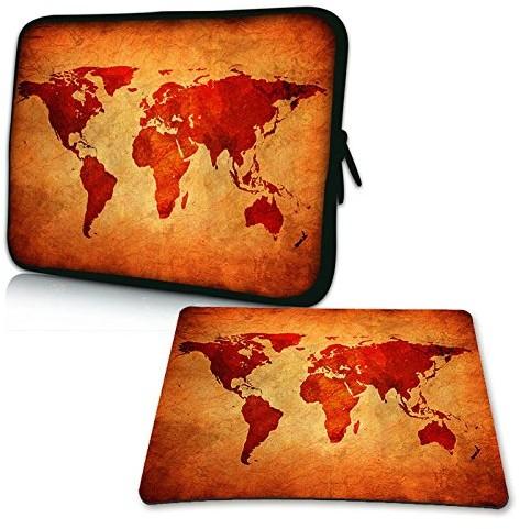 Pedea Design pokrowiec na notebooka z ekranem o przekątnej do 15,6 cala (39,6 cm) z dołączoną podkładką pod mysz Design, motyw brown global map (brązowa mapa świata) SET019-66060426