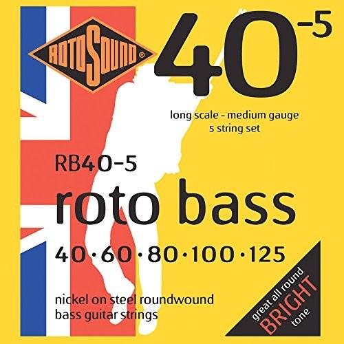 Rotosound Na drut bas okrągły nośnik rotos górne Nickel struny 406080100125 RB40.5