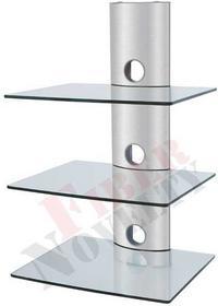 Fiber Novelty Półka audio video DVD hartowane szkło i polerowane aluminium - D51CS