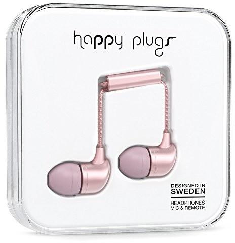 Happy Plugs Deluxe słuchawki dokanałowe z wbudowanym mikrofonem, pilotem i sylikonowymi nakładkami, kompatybilne z Apple iPhone, iPod, iPad oraz tabletami, smartfonami i odtwarzaczami MP3 z systemem A 7836