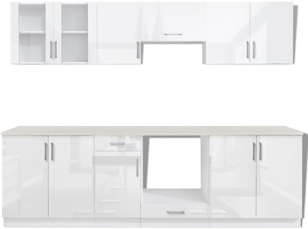 vidaXL Meble kuchenne białe na wysoki połysk 8 elementów