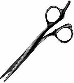 Tondeo Zentao Offset Black, profesjonalne nożyczki do ślizgu dla alergików, kolo