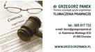 Dr Grzegorz Panek Tłumaczenia prawnicze