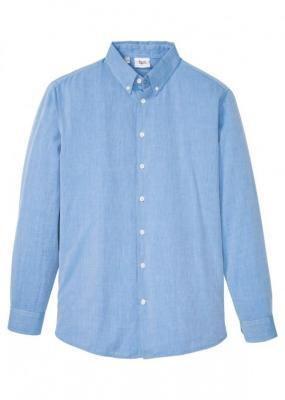 Koszula męska biznesowa w deseń w jodełkę bonprix niebieski wzorzysty