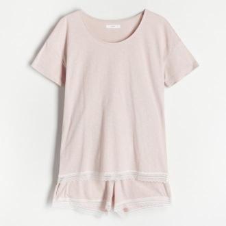 Reserved - Dwuczęściowa piżama z szortami - Brązowy