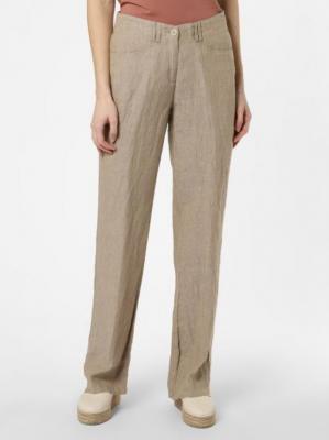 BRAX - Damskie spodnie lniane – Farina, beżowy