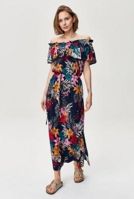 Sukienka z dekoltem typu carmen maxi