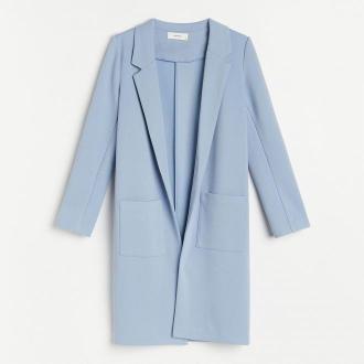Reserved - Dzianinowy płaszcz - Niebieski