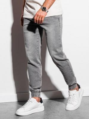 Spodnie męskie jeansowe joggery P933 - szare - XXL