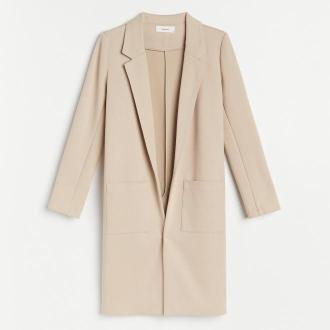 Reserved - Dzianinowy płaszcz - Beżowy