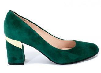 Czółenka Bravo Moda 1783 Green Zamsz+Złoto Skóra