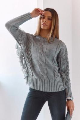 Ciepły sweter z frędzlami szary MP32747