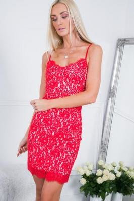 Sukienka na ramiączkach w bieliźnianym stylu czerwona ZZ283