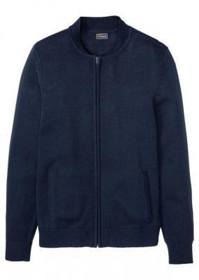 Sweter rozpinany z bejsbolowym kołnierzykiem bonprix ciemnoniebieski
