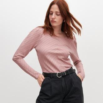 Reserved - Bluzka z bufiastymi rękawami - Różowy