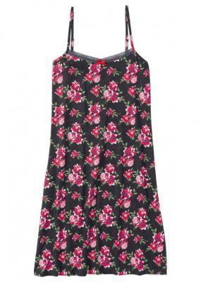 Koszula nocna na cienkich ramiączkach bonprix antracytowy melanż w kwiaty