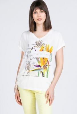 T-shirt z egzotycznym nadrukiem