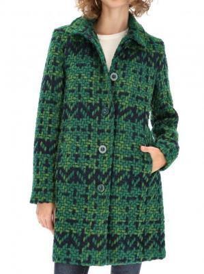 Zielony fakturowany płaszcz damski Desigual NINI