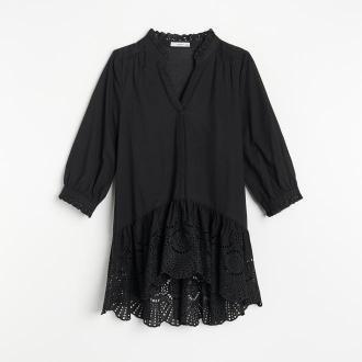 Reserved - Bawełniana bluzka z falbaną - Czarny
