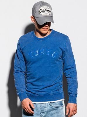 Bluza męska bez kaptura z nadrukiem B1024 - niebieska - XXL