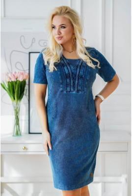Granatowa ołówkowa sukienka plus size z warkoczami przy dekolcie imitacja jeansu - austin 46/48