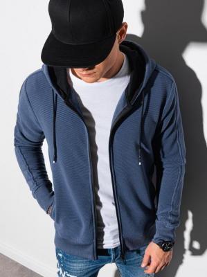 Bluza męska rozpinana z kapturem B1157 - niebieska - XXL