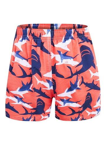 Szorty plażowe męskie pomarańczowe w białe i granatowe rekiny  M