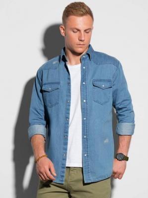 Koszula męska z długim rękawem K567 - niebieska - S