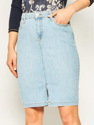 Lee Spódnica jeansowa Pencil L38GMFOC Niebieski Slim Fit