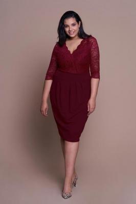 CARMEN WINE elegancka sukienka plus size z koronką : Rozmiar - 42
