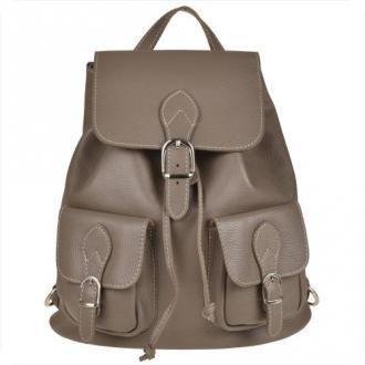 Skórzany plecak z kieszeniami taupe