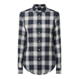 Bluzka lniana o kroju classic fit ze wzorem w kratę