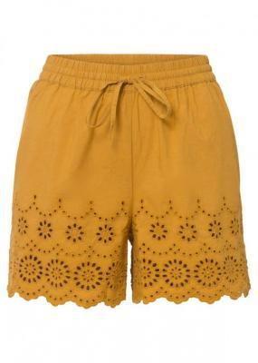 Szorty z ażurowym haftem bonprix żółty musztardowy
