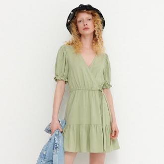 House - Kopertowa sukienka z domieszką lnu - Zielony