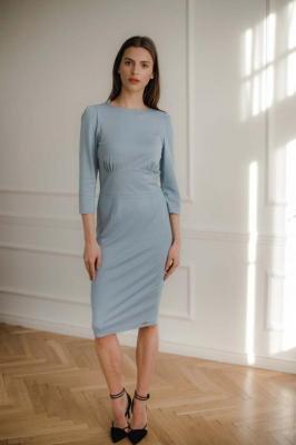 Niebieska Dopasowana Midi Sukienka z Wiązaniem na Plecach
