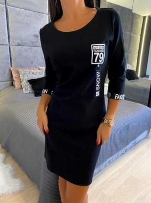 Czarna Sportowa Sukienka 6516-75-B