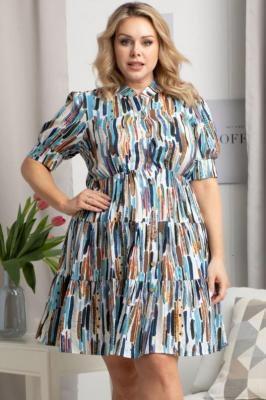 Sukienka szmizjerka z wiskozy letnia z falbankami OLENA kolorowy print na białym tle