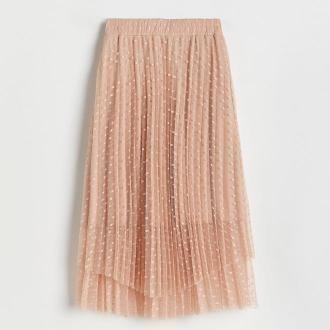 Reserved - Rozkloszowana spódnica midi - Różowy