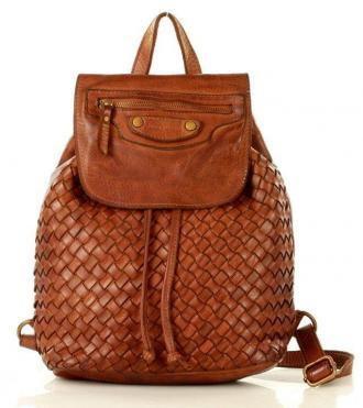 MARCO MAZZINI Brązowy Karmel Miejski Plecak Skórzany Genuine Leather Handmade Classic