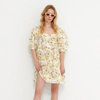 House - Sukienka w kwiaty z domieszką lnu - Żółty