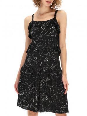 Czarna sukienka w białe wzory Desigual CASSIUS
