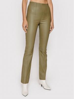 Remain Spodnie z imitacji skóry Floral RM452 Beżowy Skinny Fit