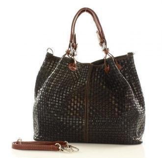 Skórzana torebka shopper MAZZINI - LINDA czarna