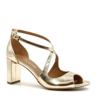 Złote skórzane sandały na niskim słupku 209E