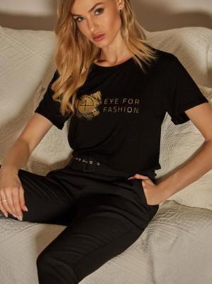 Eleganckie czarne spodnie z zaszewkami L`AF COMO